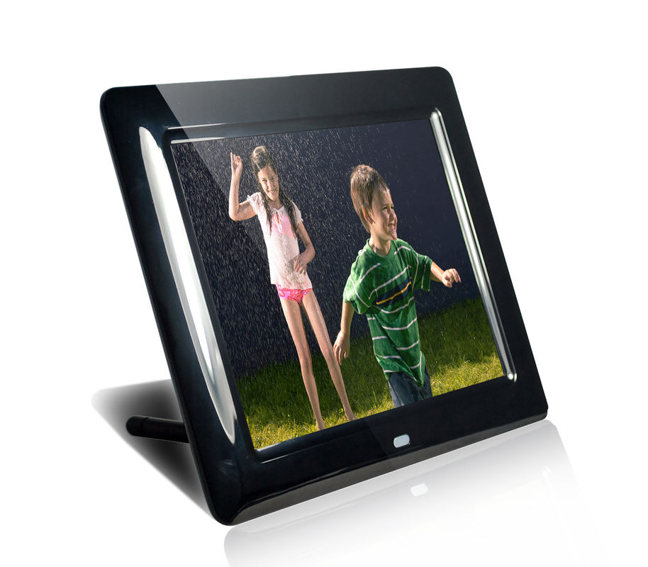 "Black HDMI MP3 / WMA 8"" Digital Video Photo Frame With Music 350cd/m2"